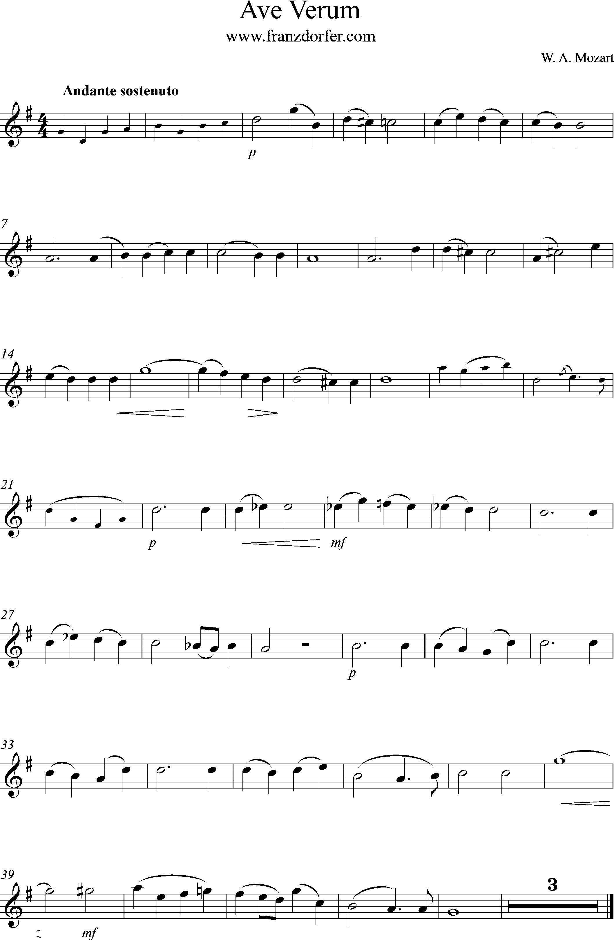 Noten Ave Verum, D-Dur, Solo Stimme